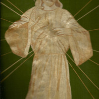 Jesus Christ Ascending to Heaven.  Not a photo, print or painting But handmade with dried leaves of rice plant.