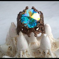 Size 7~Victorian Brass Filigree Ring Swarovski Crystal Rivoli Focal