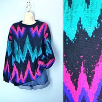 Vintage Zig Zag Sweater / Slouchy Soft 1980s Sweater / plus