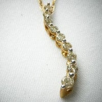 Past Present Future Diamond Jewelry Journey Curve Necklace, 10K YG