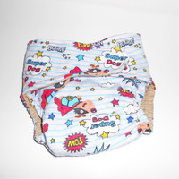 Pocket Diaper - Flannel OS Super Dog