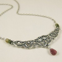 Ornate necklace with tourmaline gemstones