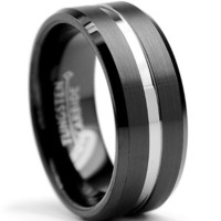8MM Two Tone High Polish / Matte Finish Men's Tungsten Ring Wedding Band Sizes 6 to 15