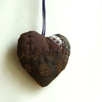 Chocolate Heart, Silk Ornament, Quilted Mocha Brown, Wall Art, Love Friendship Heart