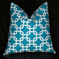 TURQUOISE Pillow 26 inch ONE Euro Sham Decorator Pillow Cover aqua and white Chain Link Geometric Modern 26""