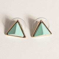 Mint Pyramid Stud Earrings