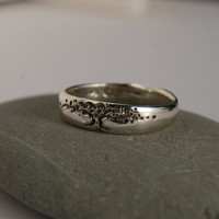 Tree of Life Band in sterling, wider version 5  to 8