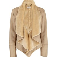 Planet Faux shearling waterfall coat Brown - House of Fraser