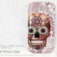 "Samsung Galaxy S3 Case - Day of the Dead art WRAP case with colorful pattern ""Sugar Skull - Bone Paisley"" for Galaxy S3- all carriers"