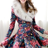OASAP - Vintage Floral Print Faux Fur Collar Belted Coat - Street Fashion Store