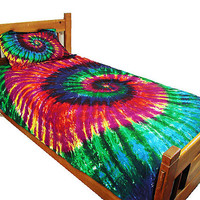 300tc Duvet Cover Set - Extreme Rainbow Spiral Twin Size