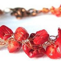 Copper Wire Red Coral Handmade Crochet Bracelet