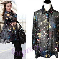 Women's Vintage Baggy Galaxy Chiffon Sheer Long Sleeves Top Shirt Blouse Txk