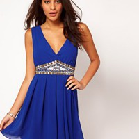 TFNC Dress with Low Embellished V Neck at asos.com