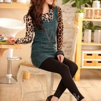 European Girls Tempt Green Leopard Two Piece Blouses : Wholesaleclothing4u.com