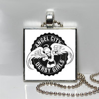 Roller Derby Angel City Logo Square Tile Pendant Necklace