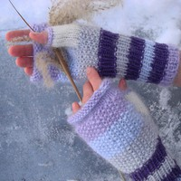 Fingerless Gloves Warm knit women Winter Mittens by RainbowMittens