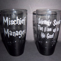 Harry Potter Mischief Managed Glass Set Black Tinted Glasses