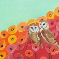Owls in a Poppy Field Art Print Red & Seafoam Green 1435x by Davs