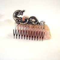 Handmade Hair Comb,   Rhinestone Button Accent,  Art Nouveau Style, Wedding AccessoryTeachers Gift