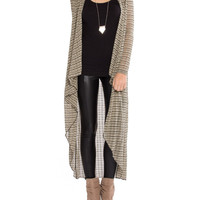 Striped Cascading Hem Cardigan - 2020AVE
