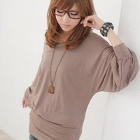 Wholesale Off Shoulder Coffee Loose Sleeve Blouses : Wholesaleclothing4u.com