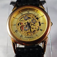SCARCE MENS OLD FOSSIL LIMITED ED #9809 of 100,000 SK1 SKELETON WATCH w NEW BAND
