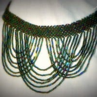 Multi Color Beaded Choker Necklace Handmade Seed Bead Drape Jewelry