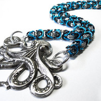 Octopus necklace, Chainmaille, Byzantine weave, Turquoise blue, black, and silver - MADE TO ORDER