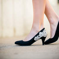 Black Heels - Low Black Pumps/Black Heels with Ivory Lace. US Size 7.5