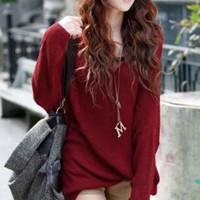 Wholesale Leisure V-neck Batwing Sleeve Sweater Red