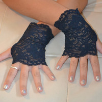 Blue Lace Arm Warmers (short)
