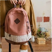 JAPAN Lady Vintage Lace Leather Pink Backpack School Campus Outdoor Laptop Bag