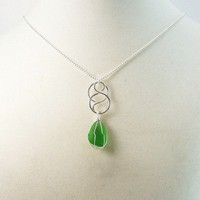 Sea Glass Pendant Celtic Knot Wire Wrapped Beach Glass Cobalt Blue sea glass Celtic Knot 2 inches green Any Age Female