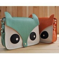 New Contrast Color Owl Messenger Pu Material Hobo Shoulder Bag GL