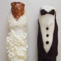 Bride Groom Chocolate Dipped Pretzel by SugarBellysBoutique