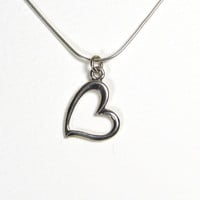 Sterling Silver Heart Charm Necklace, Modern, Bridal, Everyday
