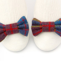 Blue Tartan Shoe Clips. Tweed Shoe Clips. Plaid Shoe Clips in Blue Red Purple Wool. Bow Clips. Blue Shoe Bows.