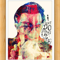 "I AM DRUGS (Salvador Dali) 8x10"" Digital Illustration High Gloss Print by MoPS"