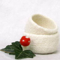 White Christmas Felted bowl - Set of two - Cozy gift - winter decoration