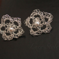 Stud Earrings Silver Post Organic Shape Flower earrings Pearl White Contemporary Jewelry Luxe
