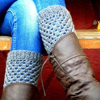 Greey Short Square Knit Boot Cuffs. Short Leg Warmers. Crochet Boot Cuffs.