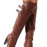 Sashi-1A Lace Up Thigh High Boot