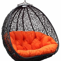 Estella - Dual Sitting Outdoor Wicker Swing Chair/ Porch Hanging Chair - DL024BK