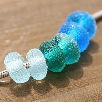 Handmade pandora beads Sugar Aqua blue by MayaHoney