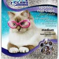 Soft Claws for Cats, Size Medium, Color Gold Glitter