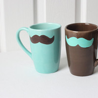 Mr. Manly Mug Set- Teal and Brown Mustache Big Mugs