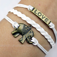 Bronze elephant bracelet, LOVE bracelet, leather rope bracelet, the best bracelet, suit to send anyone's gift
