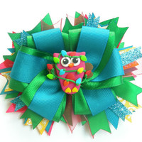 Christmas Lights Owl double layer bow with polymer clay center