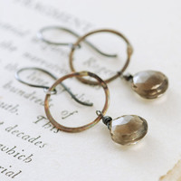 Smoky Quartz Hoop Earrings Sterling Silver Mixed Metal by aubepine